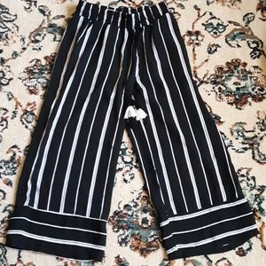 Black and white striped culottes -NWT